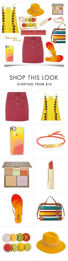 """""""Colored Denim"""" by maryfromnewengland ❤ liked on Polyvore featuring Frame, Mary Katrantzou, Casetify, Monica Vinader, Stila, Tkees, Relic, Maison Michel, polyvoreeditorial and coloreddenim"""