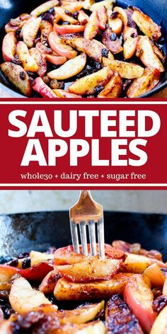 These Sauteed Apples are naturally sweet and prepared simply with coconut oil, cinnamon, and raisins. They're a hit with children and adults alike. Plus they're sugar free, dairy free, and gluten free! # whole 30 dessert Sauteed Apples Whole Foods, Whole 30 Snacks, Whole 30 Diet, Paleo Whole 30, Whole 30 Drinks, Whole 30 Dessert, Whole 30 Breakfast, Breakfast Hash, Whole Food Recipes