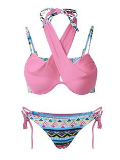 0f8f49817605b Only US$14.30 , shop Women Sexy Cross Straps Bikini Printed Ethnic Style  Swimwear at Banggood