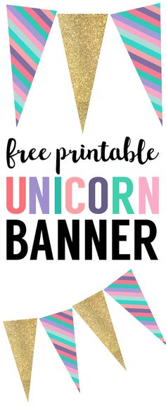 Unicorn Birthday Banner Free Printable. Banner for a unicorn birthday party, unicorn baby shower, or unicorn party. Print these DIY unicorn birthday party decorations.