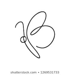 Continuous line art or One Line Drawing of Beautiful butterfly, simple, cute, vector illustration gezeichnet Vetores stock, imagens e arte vetorial de Borboleta Draw Minimal Drawings, Easy Drawings, Pencil Drawings, Simple Cute Drawings, Single Line Drawing, Continuous Line Drawing, Mini Tattoos, Small Tattoos, 42 Tattoo