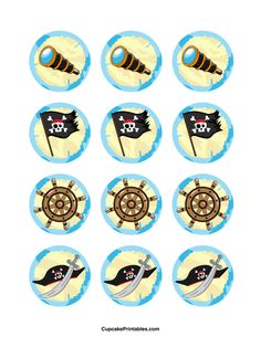 Pirate cupcake toppers. Use the circles for cupcakes, party favor tags, and more. Free printable PDF download at http://cupcakeprintables.com/toppers/pirate-cupcake-toppers/