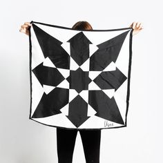 Vintage 60s Geometric ARROWS Black and White VERA Scarf