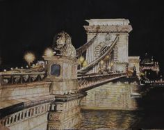 Széchenyi Chain Bridge of Budapest, Hungary, aquarelle, 42 x 31, Fabriano 300gr, Original - 600 Euro, Exclusive high end imprint on aquarell paper - 100 Euro, www.sandorszikszai.com Budapest Hungary, Tower Bridge, Bridges, Euro, Chain, The Originals, Paper, Life, Watercolour