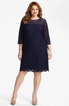 5 Plus size cocktail dresses with sleeves - Adrianna Papell Polka Dot Lace Dress - Plus Size Navy. Cocktail Dresses With Sleeves, Plus Size Cocktail Dresses, Dress Plus Size, Plus Size Dresses, Plus Size Outfits, Curve Dresses, Lace Dresses, Vetements Paris, Curvy Fashion