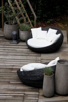 Outdoor Furniture | Galanga Living. Every thing is perfect here - wooden floor, the flower, the comfort seat place and the colours.