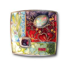 Carolyn Delzoppo Brooch, From The Garden 2011 35mm x 35mm. Stg and fine silver, cloisonné enamel, crystal opal, amethyst From a continuing series about the visual pleasures of the garden, plant forms, flowers, seeds and leaves.