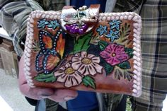 Wallet / Women / Custom / Leather / Rose, and, Flowers with Beautiful ButterFlies  / Clutch / Leather / Woman / Hand Carved and Tooled