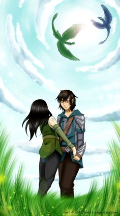 Eragon and Arya by ~faror1 on deviantART. But... the dragons have feathers. No feathers!!