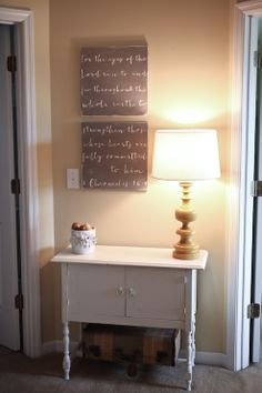 For the hall way. She has a great way to transfer the lettering. Use canvas instead/use different color chalkboard paint. nice.