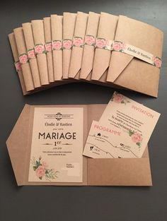 Faire-part mariage champêtre papeterie bohème pochette coupons vintage kraft Country Wedding Invitations, Rustic Invitations, Wedding Invitation Cards, Wedding Cards, Diy Wedding, Dream Wedding, Wedding Country, Country Weddings, Vintage Weddings