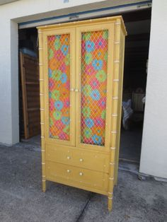RARE Chicken Wire Faux Bamboo Armoire Thomasville China Cabinet Pantry  Highboy #Thomasville #HollywoodRegency.
