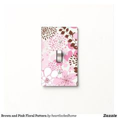 Brown and Pink Floral Pattern Light Switch Cover
