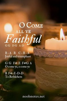 A nice melody and very easy to play 🙂 Not just for Christmas!  G   G  D G  A – D O come all ye faithful B – A   B  ^C – B – A Joyful and triumphant G  G   F# E F#-G A B …