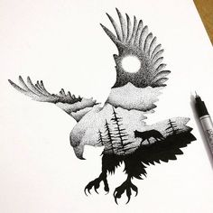 Impressive dotwork eagle with wolf in moonlight night view tattoo design #WolfTattooIdeas