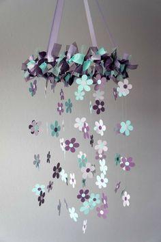 Plum & Aqua Flower Nursery Mobile - Baby Girl Nursery Decor, Baby Shower Gift do with butterflies Mobil Origami, Baby Girl Nursery Themes, Nursery Ideas, Girl Themes, Room Themes, Bedroom Ideas, Flower Mobile, Butterfly Mobile, Flower Nursery