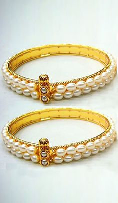 #Bangles & #Bracelets - Pearl Bangles (Set Of 2) Costs Rs. 1,240. #Jewellery BUY it here: http://www.artisangilt.com/imitation-jewellery-fashion-jewelry/bangles-bracelets/pearl-bangles-set-of-2-32760.html?ref=pin