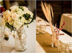 Wheat Wedding Centerpiece, Lace Maspn Jars