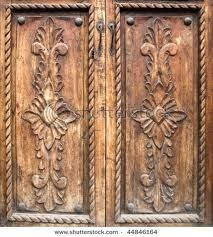 Antique Carved Wooden Doors Stock Image Of Keyhole Obsolete 12621055