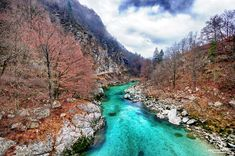 The Soca or Isonzo is a river that flows through western Slovenia and northeastern Italy. It is one of the most beautiful and cleanest rivers in Europe. Bled Slovenia, Slovenia Travel, Croatia Travel, Lake Bled, On The Road Again, Travel Abroad, Travel Tips, Places To See, National Parks