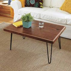Step by step directions on how to build a hair-pin leg coffee table for under 70 dollars!