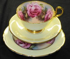 AYNSLEY VANILLA CREAM LARGE ROSES TEA CUP AND SAUCER TRIO