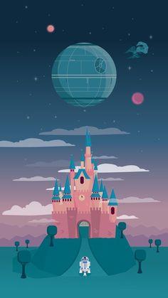 Children's Spaces | Patterns for Babies | Art Print | Illustration | Poster | Decoração Infantil | Padronagem para Bebês | Wallpaper | Ilustração para Impressão #Star #Wars #cute Star Wars heads to Disneyland in this wallpaper