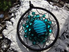 Teal Art Striped Dream Catcher by ~alchemymeg on deviantART