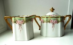 Gorgeous 1920s Cream & Sugar Set with Green and Pink Floral Design. Made in Japan. Sold at angelGrace on etsy. #1920s #vintage #porcelain