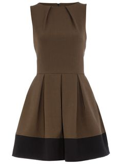 Khaki contrast hem dress $55