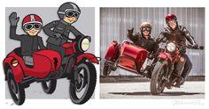 A cartoony self-portrait of the Wilkinson Bros and their Ural sidecar.