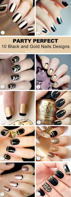 10 Stunning Black and Gold Nail Designs: http://sonailicious.com/10-black-gold-nail-designs/