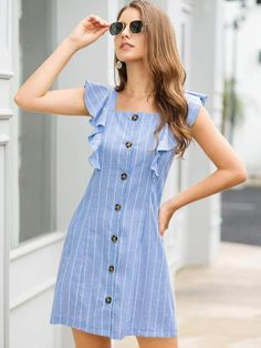 To find out about the Striped Button Front Ruffle Trim Dress at SHEIN, part of our latest Dresses ready to shop online today! Simple Dress Casual, Simple Dresses, Elegant Dresses, Pretty Dresses, Casual Dresses, Summer Dresses, Easy Dress, Latest Dress Patterns, Dress Sewing Patterns