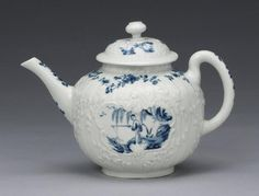 A superb Worcester teapot and cover circa 1755, The generous globular body moulded in high relief with rococo scrollwork cartouches framed with sprigs of foliage and reserved on a 'strap-fluted' ground, the neck of the teapot and rim of the cover with delicate embossed tracery, painted within the reserves with the 'Indian Fisherman' pattern, pattern the main panels with a Chinese angler beneath a willow tree and another figure in a sampan by another willow tree growing from fantastic rocks.