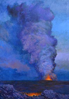 Volcano Series - Kilauea Flow - 'A'   by Hamilton Kobayashi #HamiltonKobayashi #Oil #CedarStreetGalleries