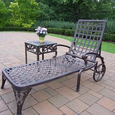 Oakland Living Corporation Merit Cast Aluminum 2 Pc Lounge Set with wheeled Chaise Lounge and Side Table (Antique Bronze), Brown, Patio Furniture Patio Chaise Lounge, Patio Rocking Chairs, Patio Chairs, Chaise Lounges, Lounge Chairs, Pool Lounge, Garden Chairs, Outdoor Lounge, Patio Glider