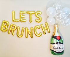 LETS BRUNCH :) perfect for the Sunday Brunch, a Bridal Shower, a special event or any champagne themed event! Cheers!! Listing includes: 10 Balloons LETS BRUNCH that are individually packaged flat and are not inflated. 1 Straw per package to blow up the balloon 10 Ft of twine for a Banner  ADD ON OPTION FOR CHAMPAGNE BALLOON SET   PLEASE NOTE: 1. Each Balloon is 16 INCHES Tall and approximately 12-16 inches wide, depending on the Letter! 2. These Balloons are AIR FILL ONLY and will not…