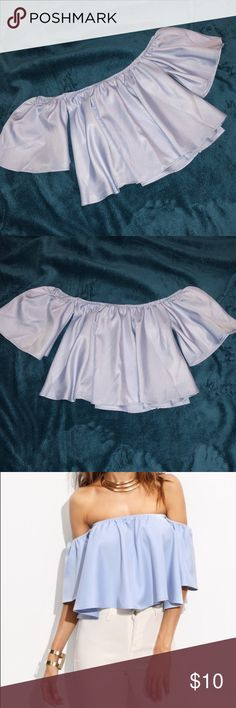 Flowy off-the-shoulder Crop Top Sky blue midriff top. Separate arm holes, perfect for comfort. Never worn! XOXO Tops Crop Tops