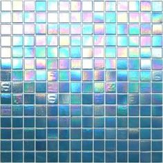 Kaleidoscope ColorGlitz Iridescent Glass Mosaic Tile, sold by the 1.15 s.f. sheet - Academy Award Aqua