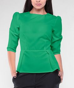 This Emerald Peplum Top - Plus Too is perfect! #zulilyfinds