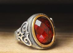 925 K Sterling Silver Man Ring Red Quartz 11.25 US Size $49.80