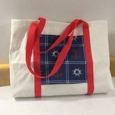 Recycled Sailcloth tote bag, unlined, nautical, great gift for sailor, pocket for gadgets, beach bag, boat, cruise, books upcycled fabric by Sailknot on Etsy