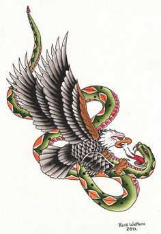 Snake & Eagle by Rick Walters Serpent Tattoo Flash Canvas Art Print – moodswingsonthenet