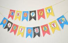 Superhero Happy Birthday Banner DIY  Superhero by PaperBearPrint, $5.50