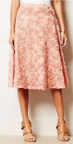 Beautiful pink skirt with ruffles and applique #anthrofave http://rstyle.me/n/sna2zbh9c7
