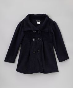 Navy Polar Fleece Swing Coat - Girls | Daily deals for moms, babies and kids