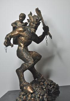 Krampus Statue Bronze finish by Dellamorteco on Etsy