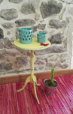 Distressed chalk paint side table using a triple layer of pink petals, pale turquoise and mustard Pinty Plus Painted Side Tables, Pink Petals, Chalk Paint, Turquoise, Mustard, Handmade, Painting, Furniture, Home Decor