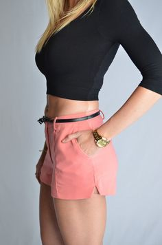 Weekend Getaway Belted Shorts - Coral. Solid shorts with pockets on front & back, zipper closure on front, and a matching black belt. #iAmAdorned
