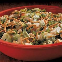 Recipe for Asian Cashew Chicken Salad  - This satisfying salad is crunchy, nutty and sweet all at the same time.
